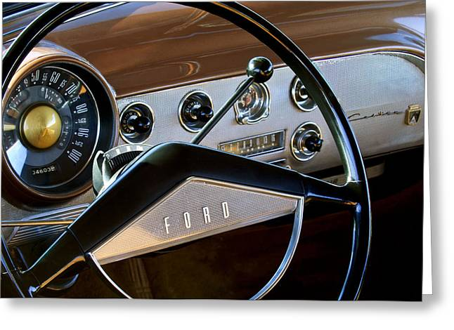 1951 Photographs Greeting Cards - 1951 Ford Crestliner Steering Wheel Greeting Card by Jill Reger