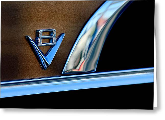 1951 Photographs Greeting Cards - 1951 Ford Crestliner V8 Emblem Greeting Card by Jill Reger
