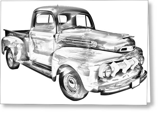 Oldtimer Greeting Cards - 1951 Ford F-1 Pickup Truck Illustration  Greeting Card by Keith Webber Jr