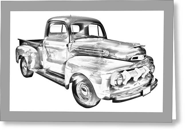 Old Trucks Greeting Cards - 1951 Ford F-1 Pickup Truck Illustration  Greeting Card by Keith Webber Jr