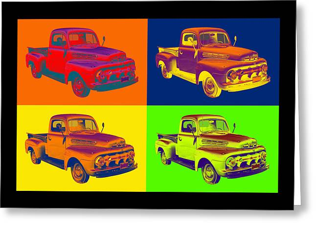 Classic Truck Greeting Cards - 1951 ford F-1 Pickup Truck Pop Art Greeting Card by Keith Webber Jr
