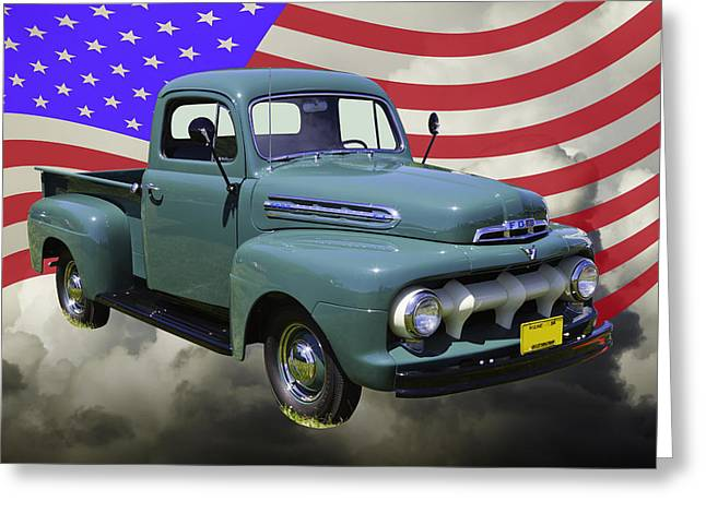 Classic Truck Greeting Cards - 1951 ford F-1 Pickup Truck With United States Flag Greeting Card by Keith Webber Jr