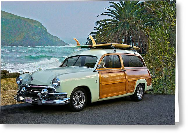 Slam Greeting Cards - 1951 Ford Woody Surfs Up Greeting Card by Dave Koontz