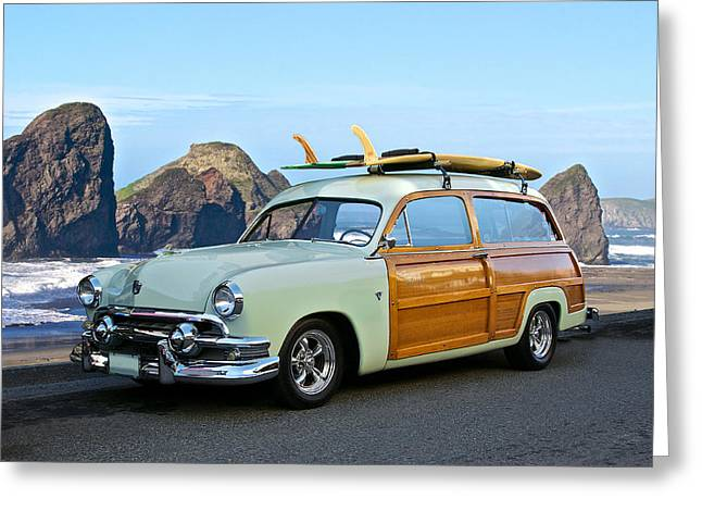 Woody Wagon Greeting Cards - 1951 Ford Woody Wagon Greeting Card by Dave Koontz