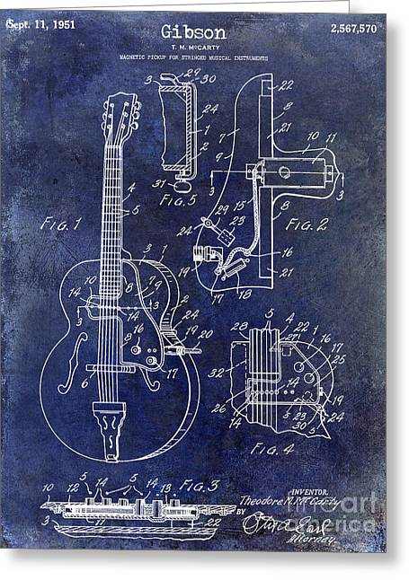 Les Paul Greeting Cards - 1951 Gibson Guitar Patent Drawing Blue Greeting Card by Jon Neidert