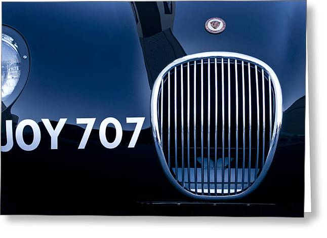1951 Photographs Greeting Cards - 1951 Jaguar Proteus C-Type Grille Emblem 3 Greeting Card by Jill Reger