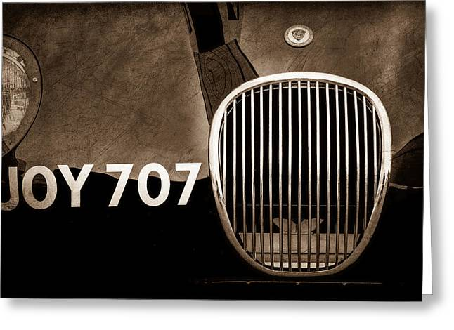 1951 Photographs Greeting Cards - 1951 Jaguar Proteus C-type Grille Emblem Greeting Card by Jill Reger