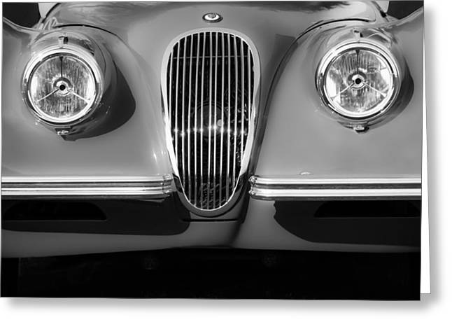 1951 Greeting Cards - 1951 Jaguar XK 120 OTS Grille-1115bw Greeting Card by Jill Reger
