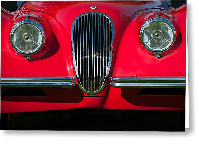 1951 Greeting Cards - 1951 Jaguar XK 120 OTS Grille-1115c Greeting Card by Jill Reger