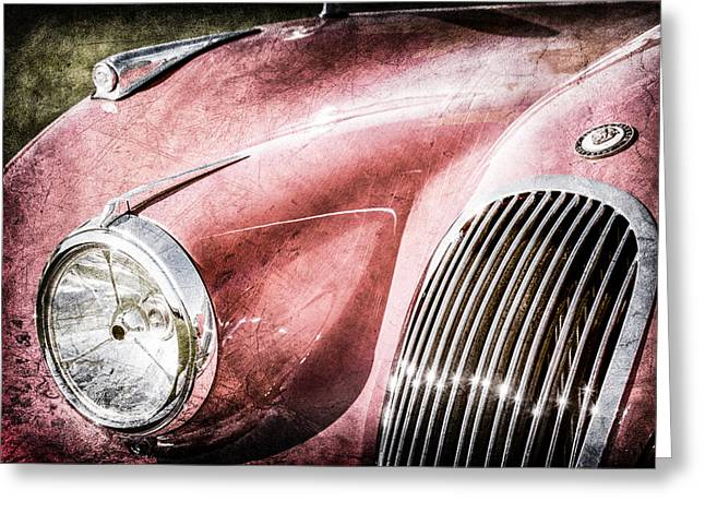 1951 Greeting Cards - 1951 Jaguar XK 120 OTS Grille Emblem -1108ac Greeting Card by Jill Reger