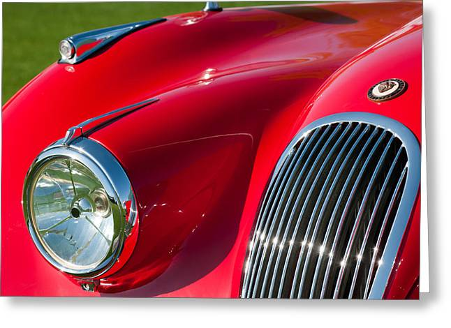 1951 Photographs Greeting Cards - 1951 Jaguar XK 120 OTS Grille Emblem Greeting Card by Jill Reger