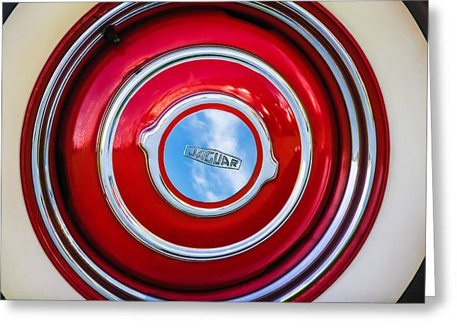 1951 Greeting Cards - 1951 Jaguar XK 120 OTS Wheel Emblem -1098c Greeting Card by Jill Reger