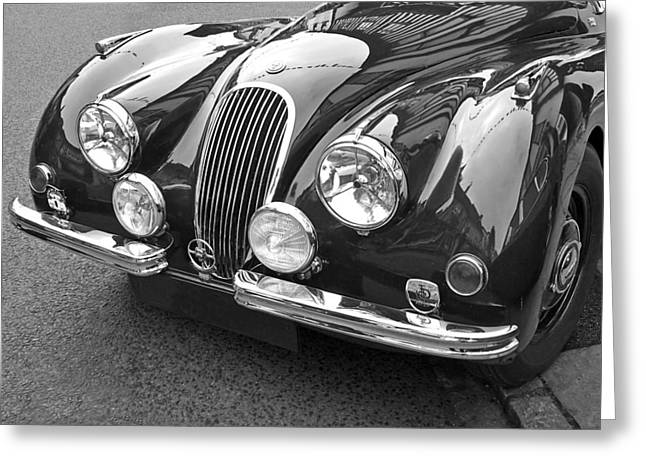 1951 Greeting Cards - 1951 Jaguar XK120 in Black and White Greeting Card by Gill Billington