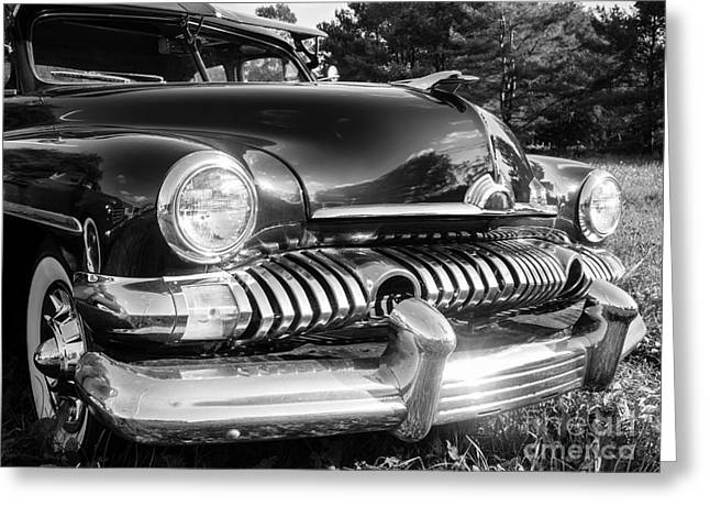 Vintage Hood Ornaments Greeting Cards - 1951 Mercury Coupe - American Graffiti Greeting Card by Edward Fielding