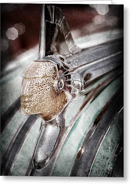 1951 Greeting Cards - 1951 Pontiac Chief Hood Ornament -0037ac Greeting Card by Jill Reger