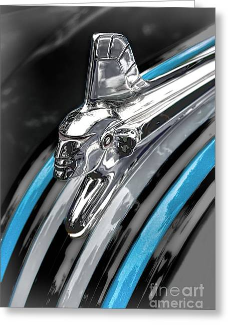 Stainless Steel Greeting Cards - 1951 Pontiac Chieftain Hood Ornament Greeting Card by Henry Kowalski