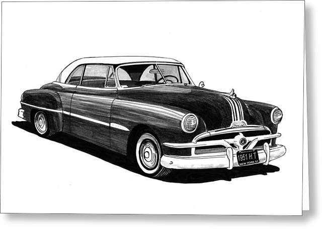Pen And Ink Framed Prints Greeting Cards - 1951 Pontiac Hard Top Greeting Card by Jack Pumphrey