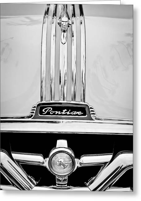 1951 Photographs Greeting Cards - 1951 Pontiac Streamliner Hood Ornament - Grille Emblem Greeting Card by Jill Reger