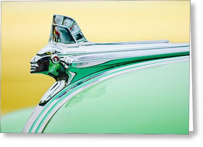Streamliner Greeting Cards - 1951 Pontiac Streamliner Hood Ornament Greeting Card by Jill Reger