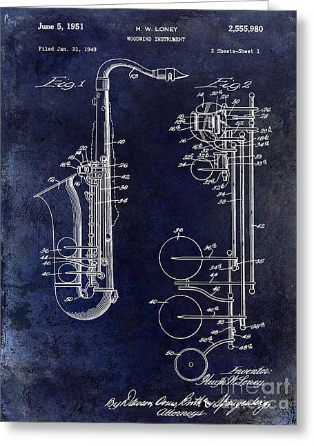 1951 Greeting Cards - 1951 Saxophone Patent Drawing Blue Greeting Card by Jon Neidert