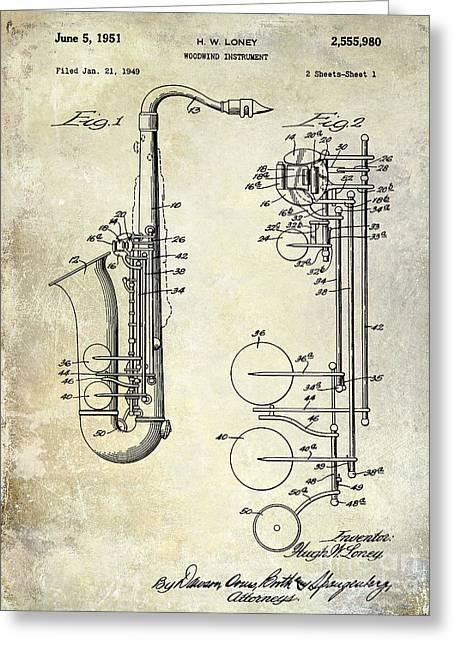 1951 Greeting Cards - 1951 Saxophone Patent Drawing Greeting Card by Jon Neidert