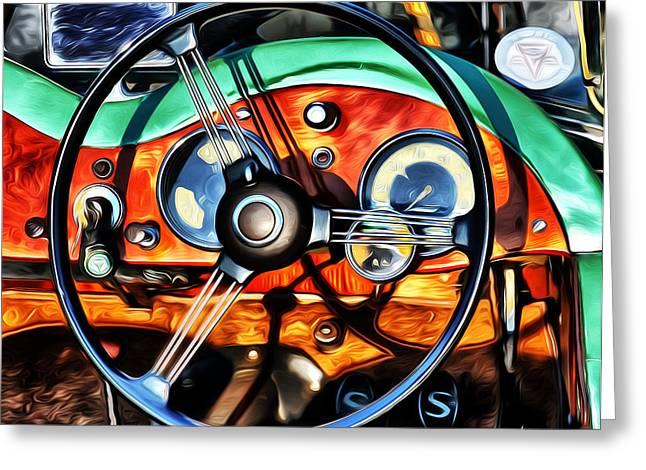 1951 Digital Art Greeting Cards - 1951 Singer Roadster Interior Greeting Card by Brian Mollenkopf