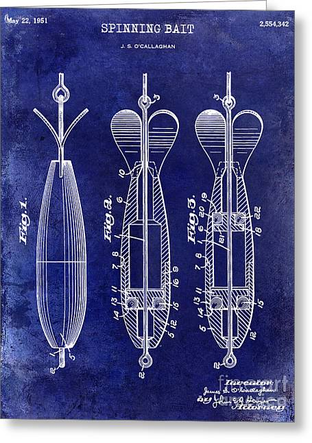 Florida Peninsula Greeting Cards - 1951 Spinning Bait Patent Drawing Blue Greeting Card by Jon Neidert
