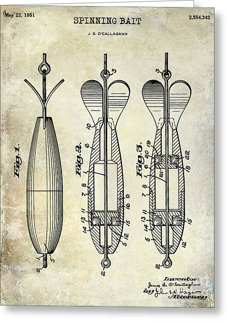 Naples Greeting Cards - 1951 Spinning Bait Patent Drawing Greeting Card by Jon Neidert