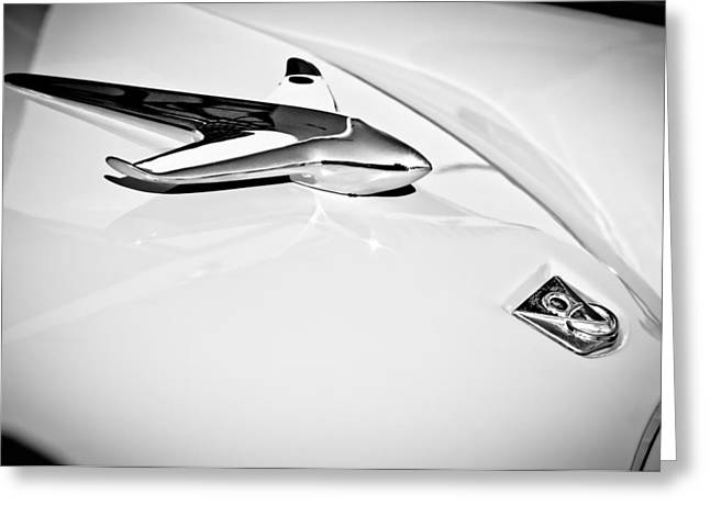 1951 Greeting Cards - 1951 Studebaker Commander Hood Ornament -0197bw Greeting Card by Jill Reger