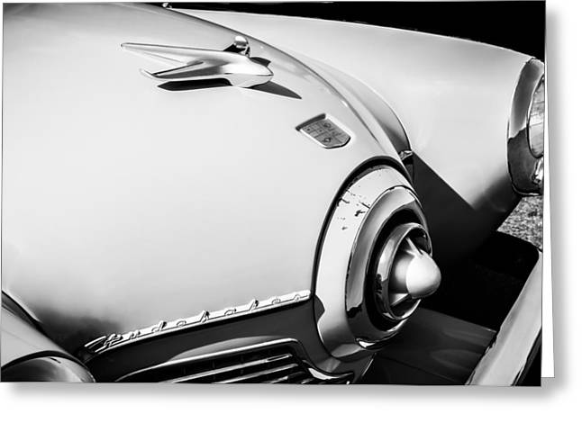 1951 Greeting Cards - 1951 Studebaker Star Light Hood Ornament -0344bw Greeting Card by Jill Reger