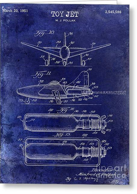 Vintage Aircraft Greeting Cards - 1951 Toy Jet Patent Drawing Blue Greeting Card by Jon Neidert