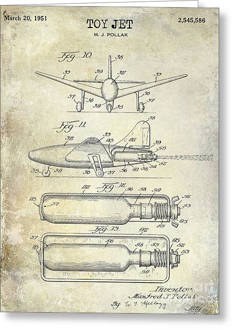 Vintage Aircraft Greeting Cards - 1951 Toy Jet Patent Drawing Greeting Card by Jon Neidert