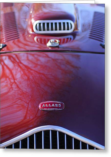 Factory Photographs Greeting Cards - 1952 Allard K2 Factory Special Roadster Grille Emblem Greeting Card by Jill Reger
