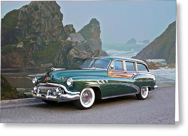 Family Car Greeting Cards - 1952 Buick Woody Estate Wagon Greeting Card by Dave Koontz
