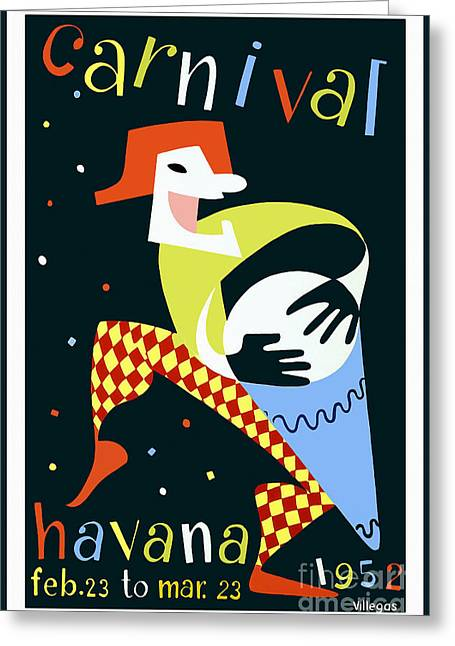 Habana Greeting Cards - 1952 Carnaval Vintage Travel Poster Greeting Card by Jon Neidert