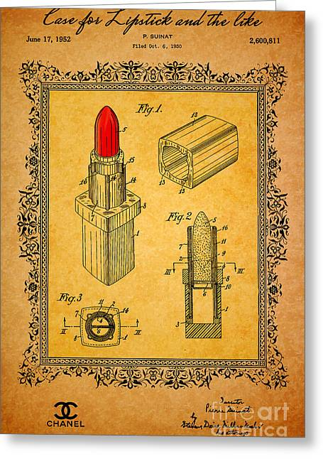 Recently Sold -  - Empower Greeting Cards - 1952 Chanel Lipstick Case 3 Greeting Card by Nishanth Gopinathan