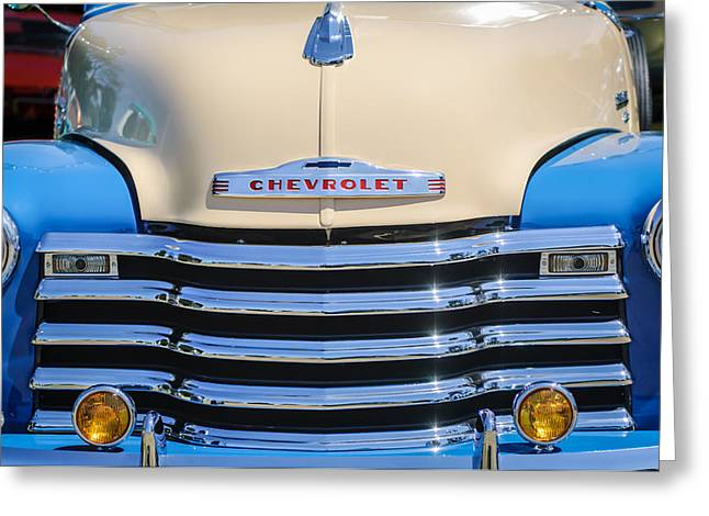 Classic Pickup Truck Greeting Cards - 1952 Chevrolet Pickup Truck Grille Emblem Greeting Card by Jill Reger
