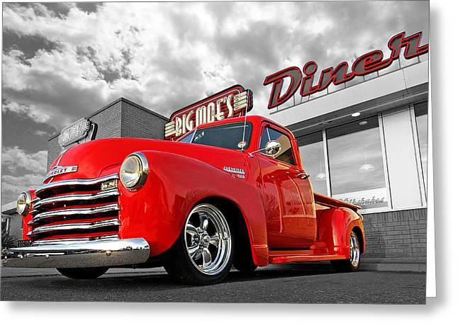 Caves Greeting Cards - 1952 Chevrolet Truck at the Diner Greeting Card by Gill Billington