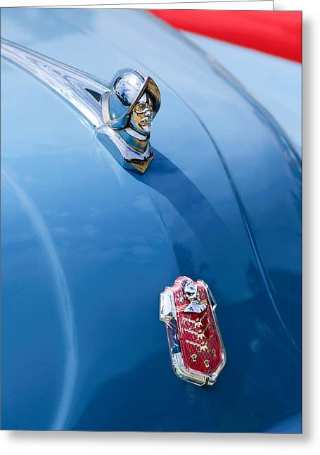 Collector Hood Ornament Greeting Cards - 1952 Desoto Hood Ornament - Emblem Greeting Card by Jill Reger