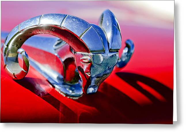 Collector Hood Ornament Greeting Cards - 1952 Dodge Ram Hood Ornament 2 Greeting Card by Jill Reger