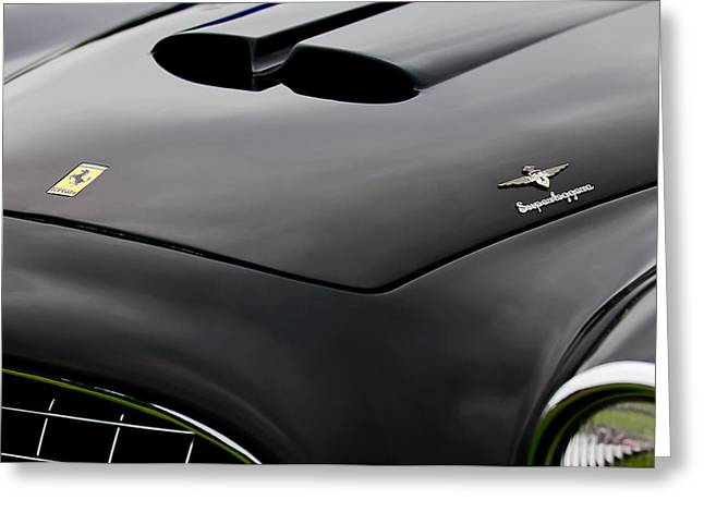 Italian Marque Greeting Cards - 1952 Ferrari 212 225 Barchetta Hood Emblems Greeting Card by Jill Reger