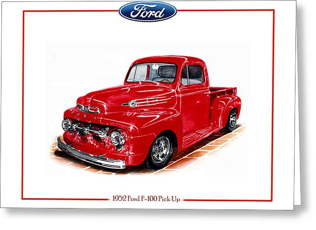 Print On Acrylic Greeting Cards - 1952 Ford F-100 Pick Up Greeting Card by Jack Pumphrey