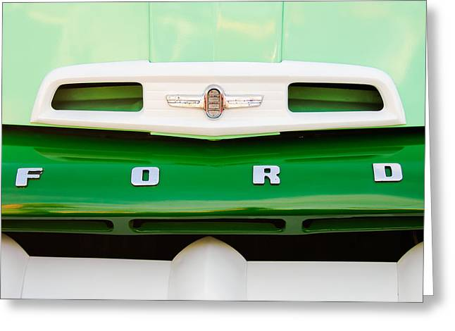 Classic Pickup Greeting Cards - 1952 Ford F-6 Pickup Truck Grille Emblem Greeting Card by Jill Reger