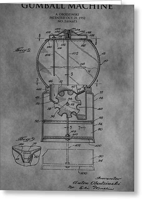 Candy Drawings Greeting Cards - 1952 Gumball Machine Patent Greeting Card by Dan Sproul