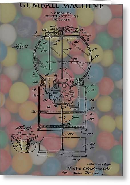 Toy Store Mixed Media Greeting Cards - 1952 Gumball Machine Patent Poster Greeting Card by Dan Sproul