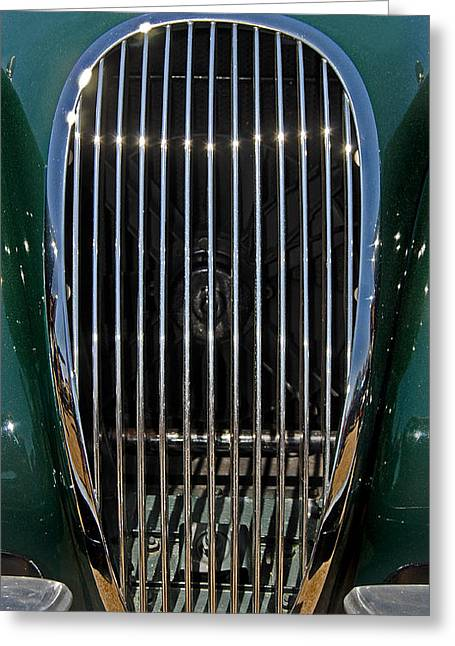 Car Part Greeting Cards - 1952 Jag Xk120 Greeting Card by Skip Willits