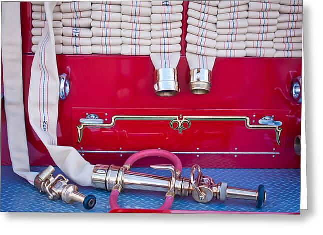 Fire Truck Greeting Cards - 1952 L Model Mack Pumper Fire Truck Hoses Greeting Card by Jill Reger