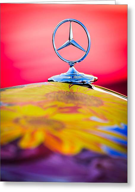 Earthly Greeting Cards - 1952 Mercedes-Benz 220 A Cabriolet Hood Ornament Greeting Card by Jill Reger