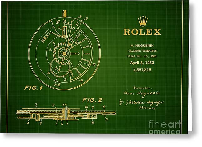 1952 Rolex Calendar Timepiece 1 Greeting Card by Nishanth Gopinathan