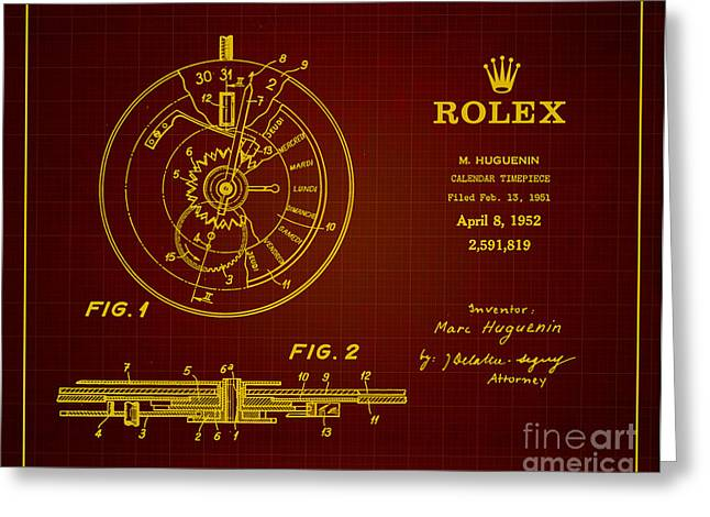 Wall Calendars Greeting Cards - 1952 Rolex Calendar Timepiece 3 Greeting Card by Nishanth Gopinathan